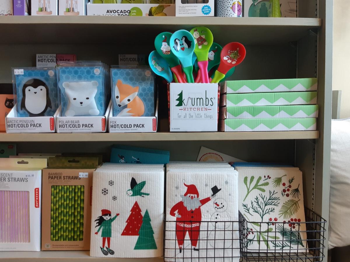 Christmas cloths and spoons at Bolen Books