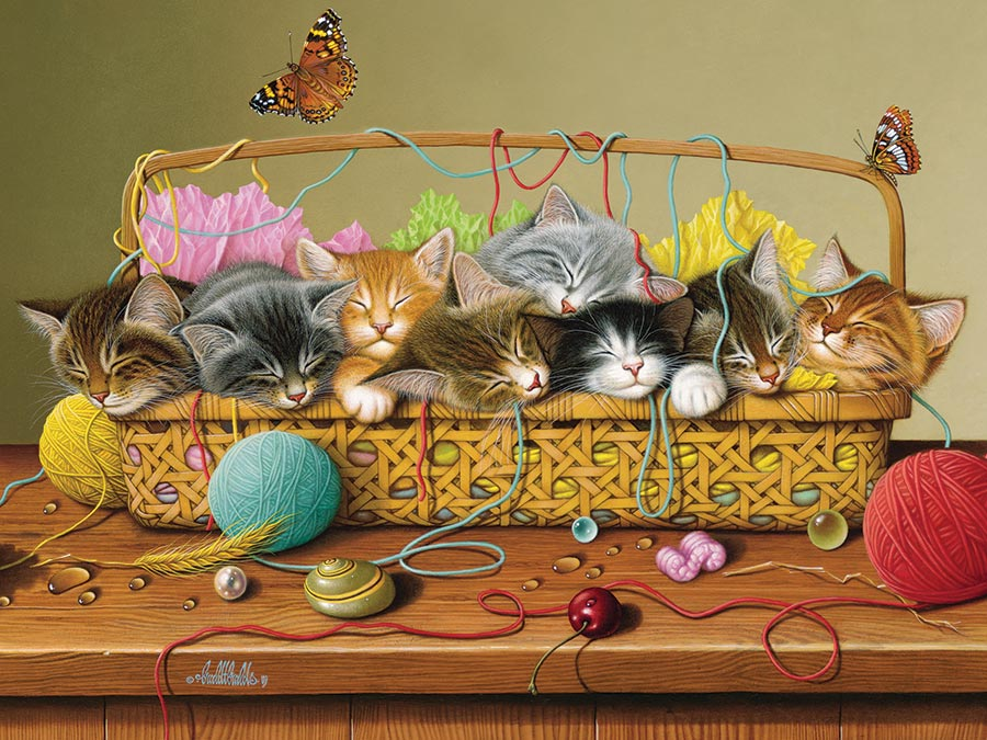 Basket Case jigsaw | 400 pieces | Cobble Hill Family Puzzle kittens cats yarn