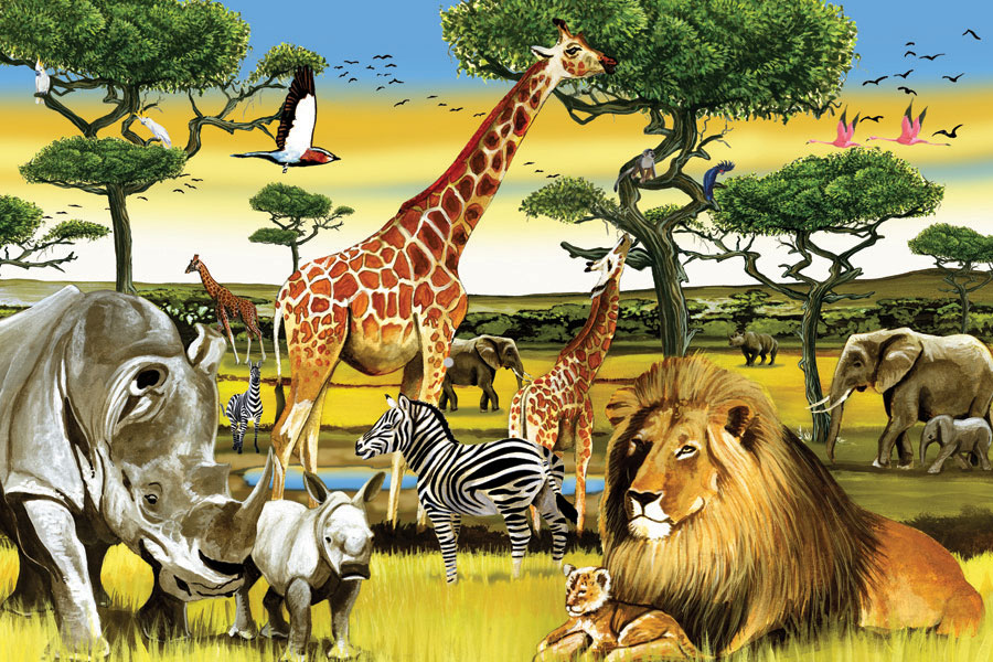 African Plains - Floor Puzzle | Outset Media Games Zoo Animals Toys