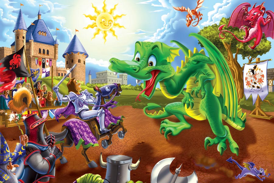 Knights and Dragons | 36 piece kids floor puzzle | Cobble Hill Puzzle