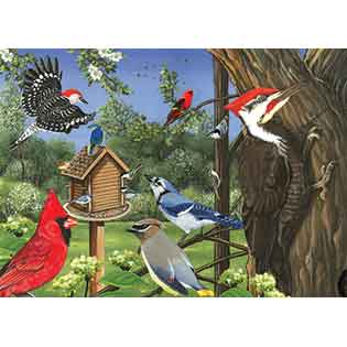 Around the Birdfeeder tray puzzles for kids