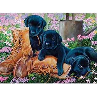 Black Lab Puppies tray puzzles for kids