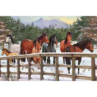 Snowy Pasture | 35 piece kids horse tray puzzle | Cobble Hill puzzles