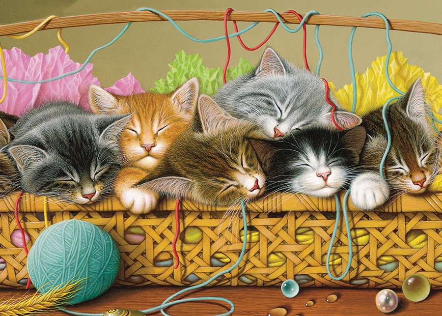 Kittens in Basket tray puzzle for kids | Cobble Hill Puzzle Co