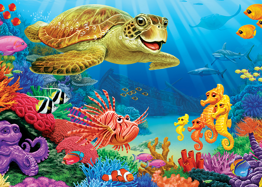 Undersea Turtle tray puzzle for kids | Cobble Hill Puzzle Co