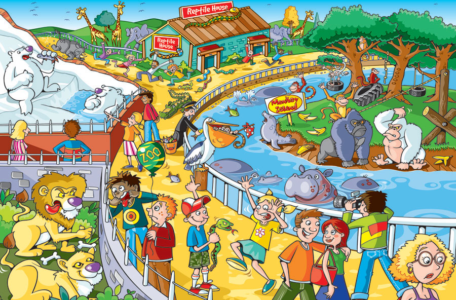 Trip to the Zoo kids 60 piece jigsaw puzzle find the difference