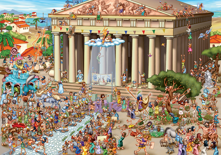 Acropolis Of Athens - Cartoon Puzzle 1000 piece jigsaw puzzle