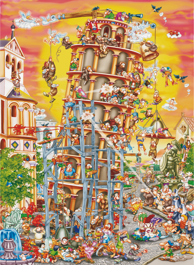 Building the Tower of Pisa - Cartoon Puzzle | D-Toys 1000 piece puzzle