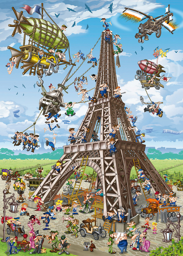 Building The Eiffel Tower Cartoon Puzzle Outset Media
