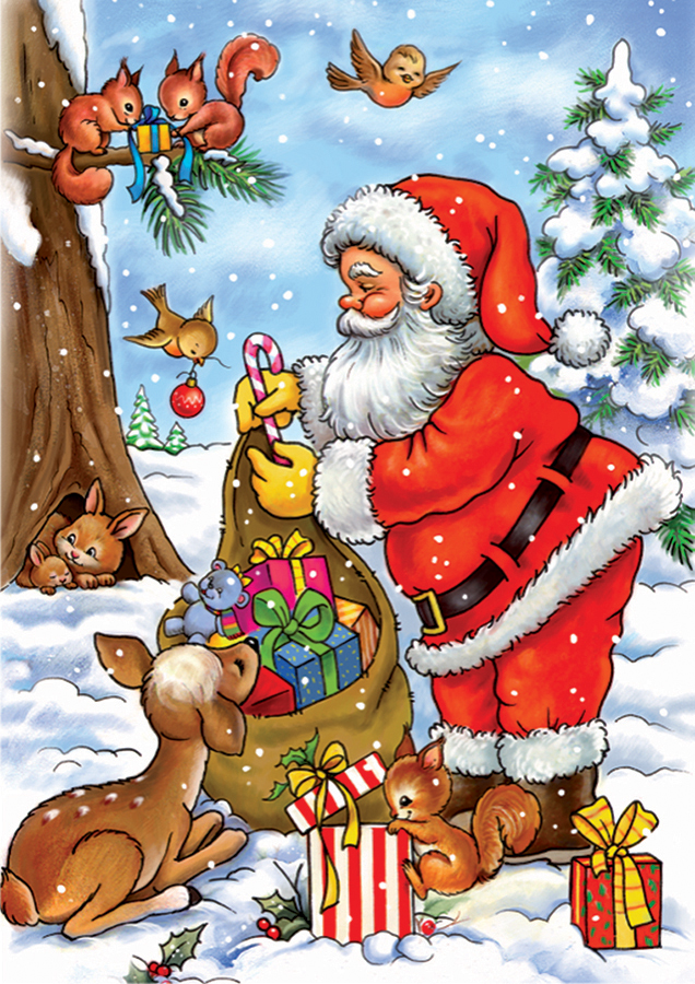 Childrens Puzzles - Santa With His Animals - 35 piece jigsaw puzzles
