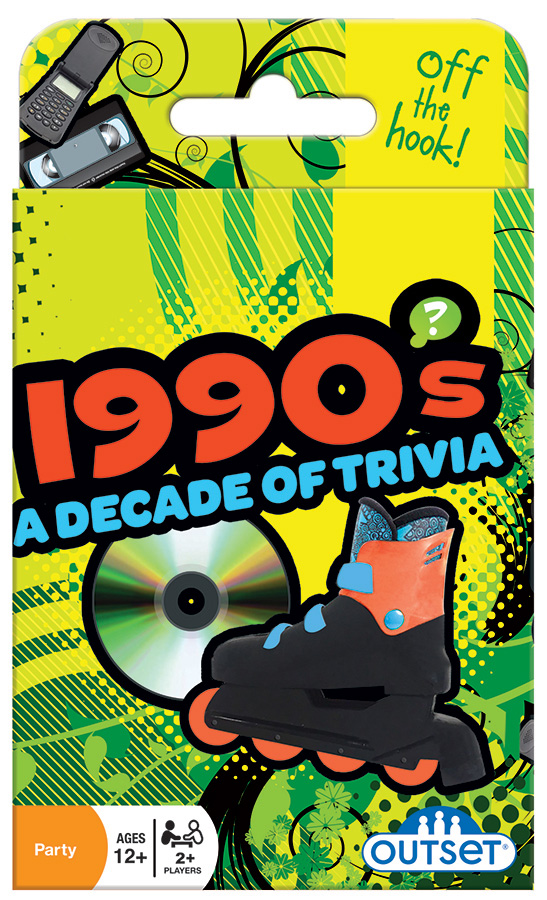1990's A Decade of Trivia card game by Outset Media