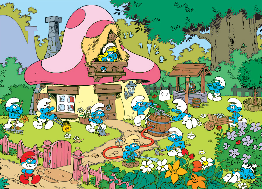 Spring Cleaning at Smurfette's House 500 piece Smurf puzzle by Cobble Hill