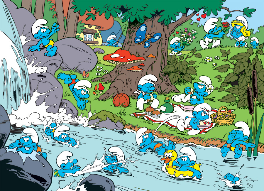 Smurfy Picnic by Peyo - Cobble Hill Puzzle Co Family Pieces 350
