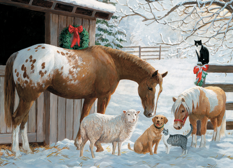 Winter Barnyard 350 Family Piece puzzle by Cobble Hill