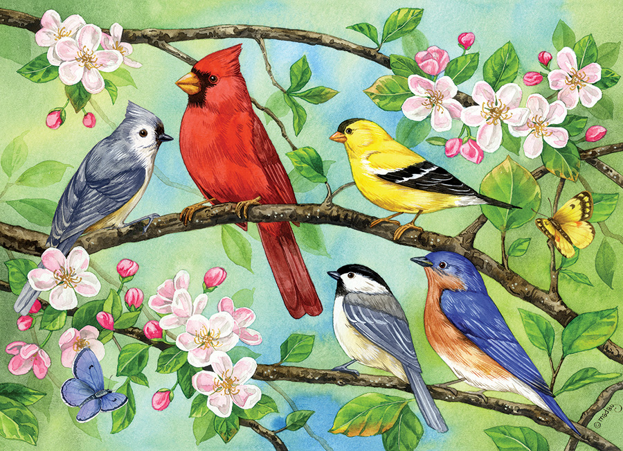 Bloomin' Birds 350 Family Piece puzzle by Cobble Hill
