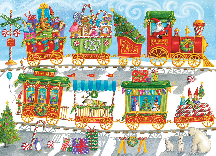 Christmas Train 350 Family Piece puzzle by Cobble Hill