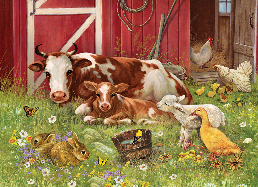 Barnyard Babies (Family) 350 Family Piece puzzle by Cobble Hill