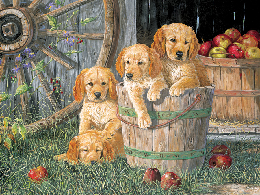 Puppy Pail (Family) Cobble Hill Puzzle Co - 350 piece Family Puzzle - dogs