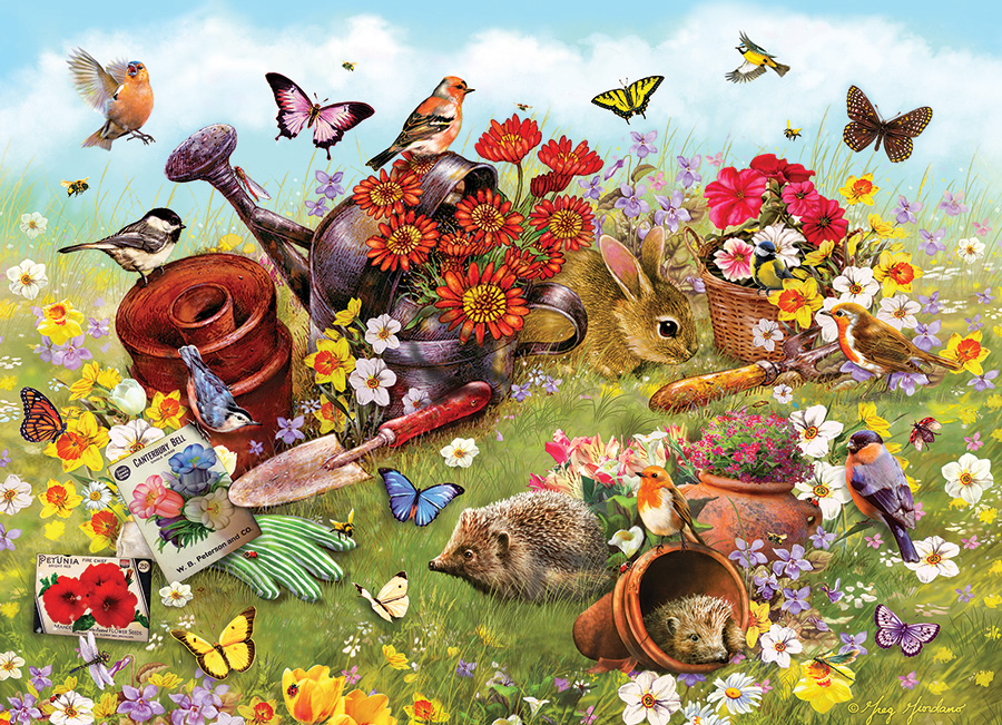Garden Scene (Family) Family Pieces 350 puzzle by Cobble Hill