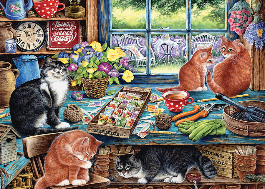 Garden Shed Cats tray puzzle for kids | Cobble Hill Puzzle Co