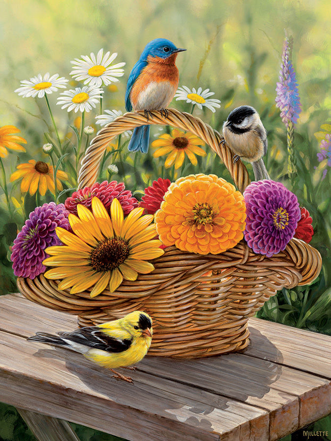 Bluebird and Bouquet - Tray Puzzle