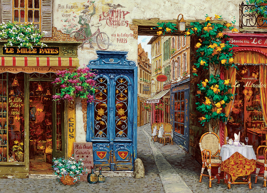 Rue Lafayette jigsaw | 1000 pieces | Cobble Hill french village puzzle