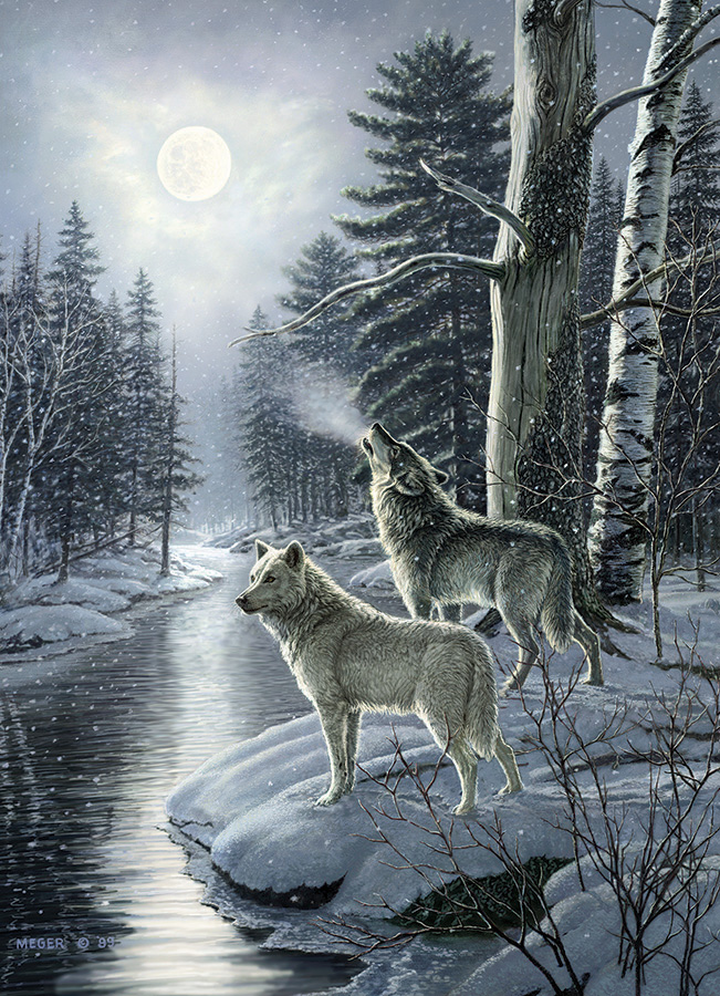 Wolves by Moonlight - 1000 piece - Cobble Hill Puzzle Co - wolf wildlife puzzle