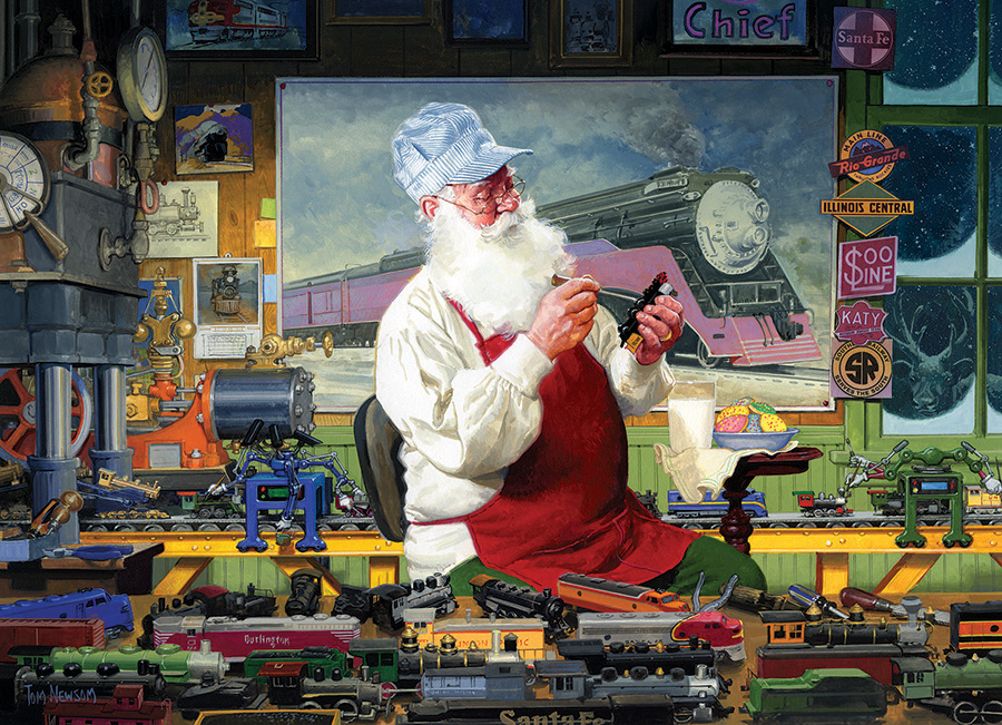 Santa's Hobby - 1000 piece - Cobble Hill Puzzle Co - train santa puzzle