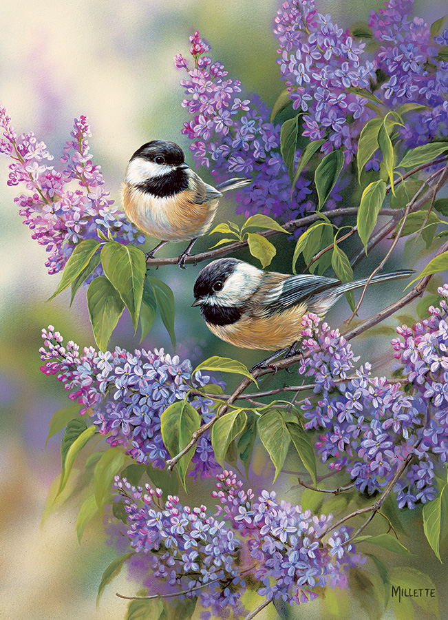 Chickadees and Lilacs - 1000 piece - Cobble Hill Puzzle Co - birds flowers jigsaw