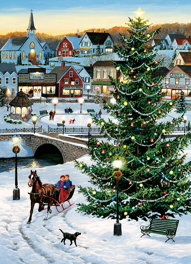 Village Tree 1000 piece Christmas puzzle by Cobble Hill Puzzle Co