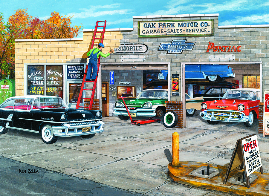 Under New Ownership jigsaw   1000 pieces   Cobble Hill vintage cars garage puzzle