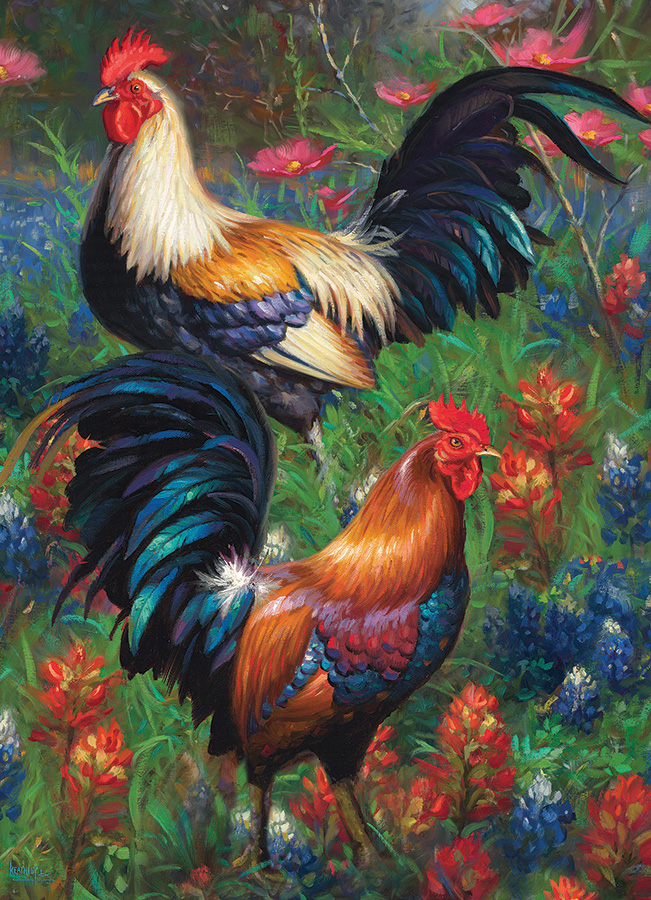 Roosters- 1000 pc puzzle - Cobble Hill Puzzle Co