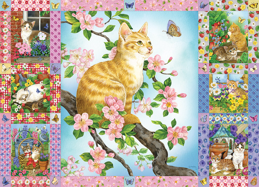 Blossom and Kittens Quilt 1000 piece puzzle by Cobble Hill