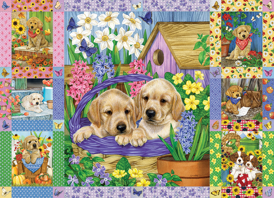 Puppies and Posies Quilt 1000 piece puzzle by Cobble Hill