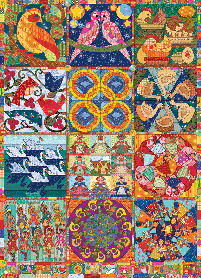 Twelve Days of Christmas Quilts Cobble Hill jigsaw puzzle 1000pc