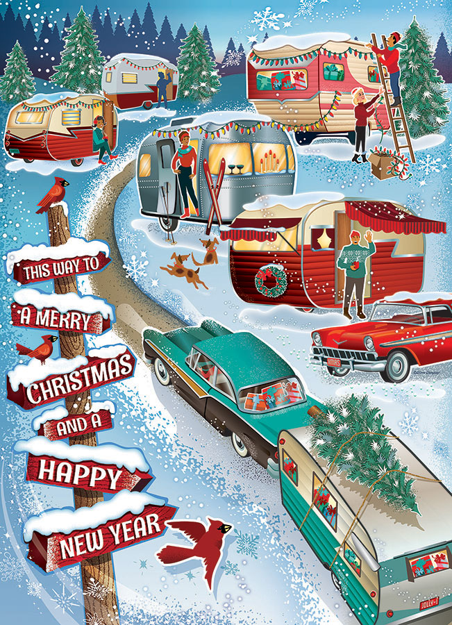 Christmas Campers Cobble Hill jigsaw puzzle 1000pc