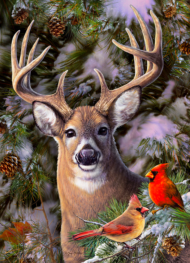 One Deer Two Cardinals | 500 pieces | Cobble Hill Family Puzzle