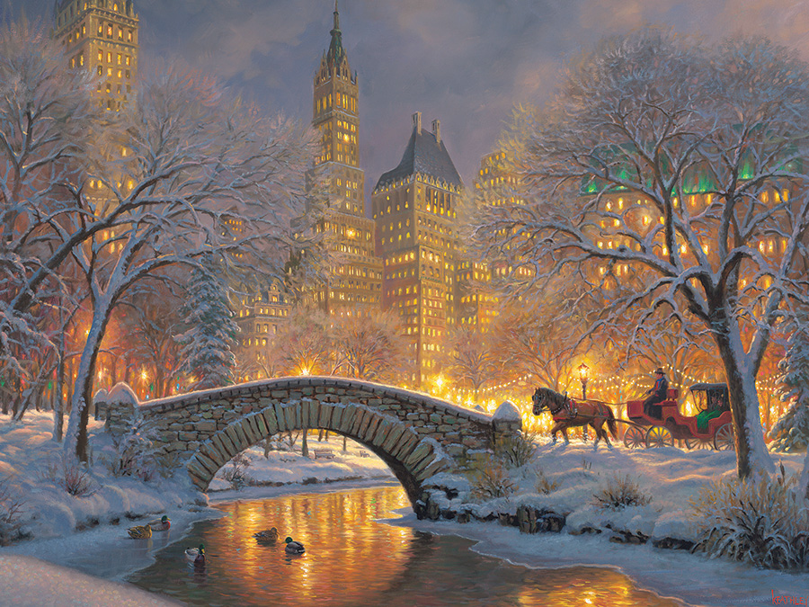 Winter in the Park 500 piece snow and horse puzzle by Cobble Hill
