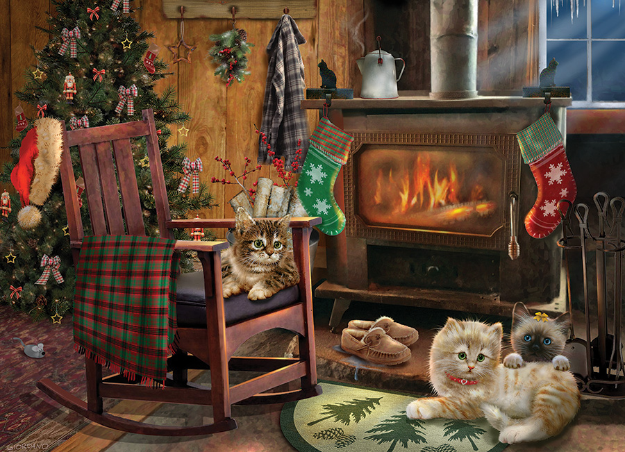 Kittens by the Stove 500 piece jigsaw puzzle by Cobble Hill