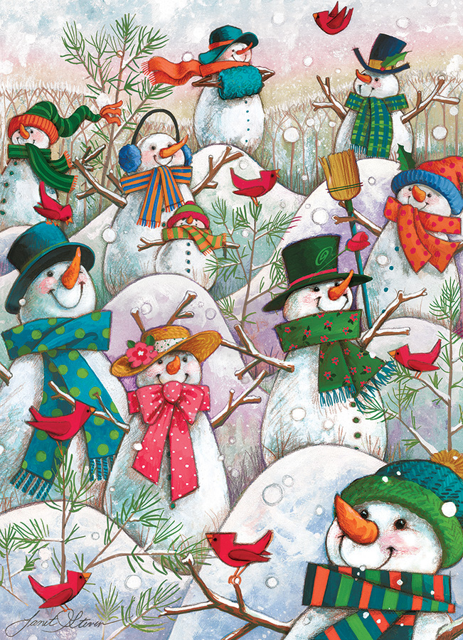 Hill of a Lot of Snowmen 500 piece jigsaw puzzle by Cobble Hill
