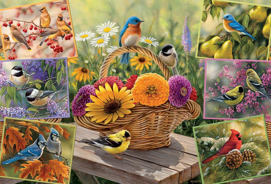 Rosemarys Birds 2000 pc puzzle Cobble Hill Puzzle Co flower jigsaw