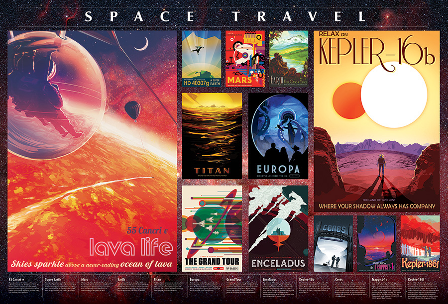 Space Travel Posters 2000 pc puzzle Cobble Hill Puzzle Co jigsaw