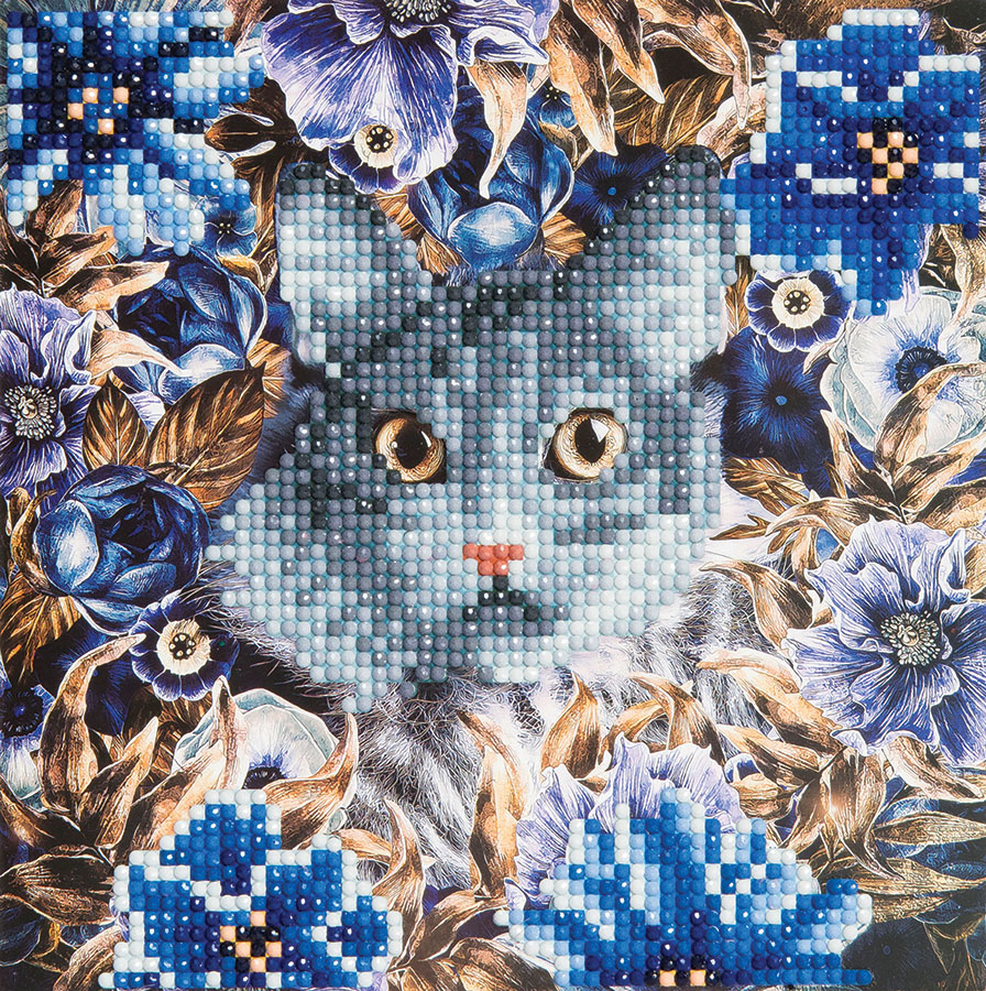 Crystal Art Card Kit Cats and Flowers distributed by Outset Media