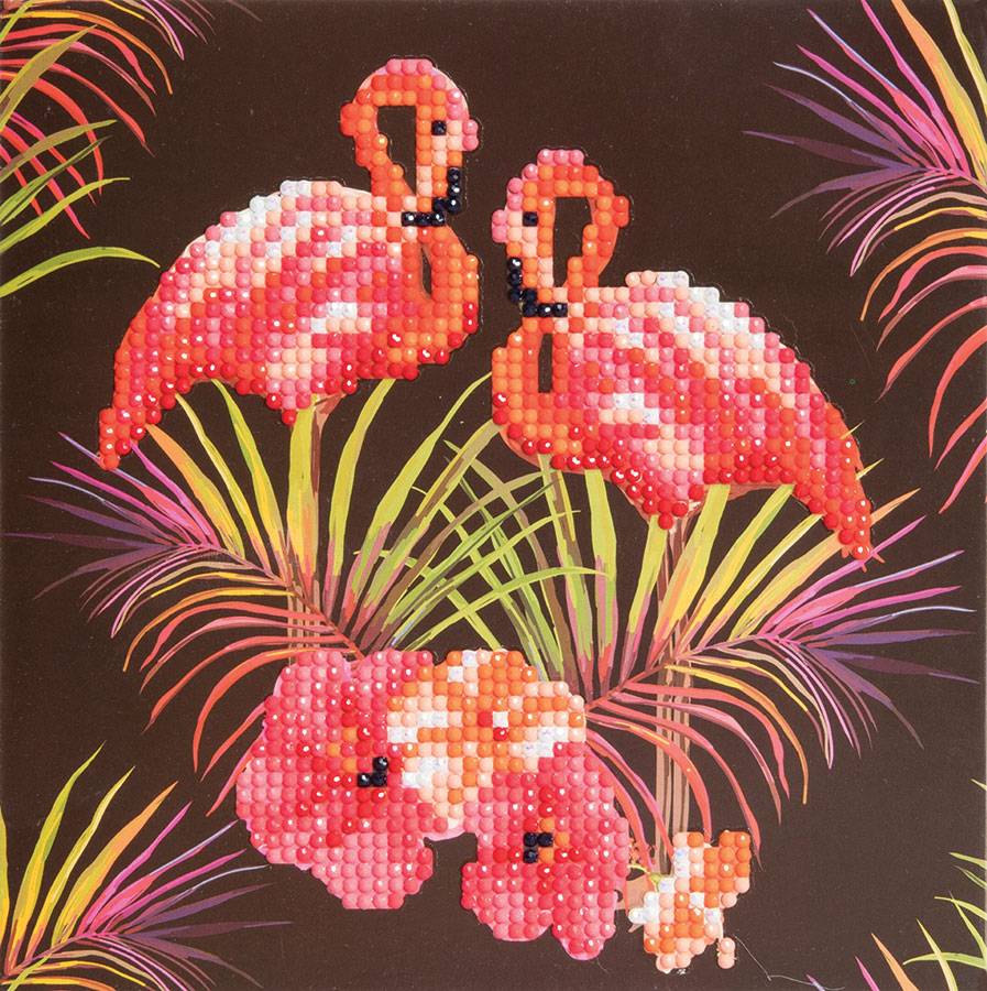 Crystal Art Card Kit Flamingos distributed by Outset Media