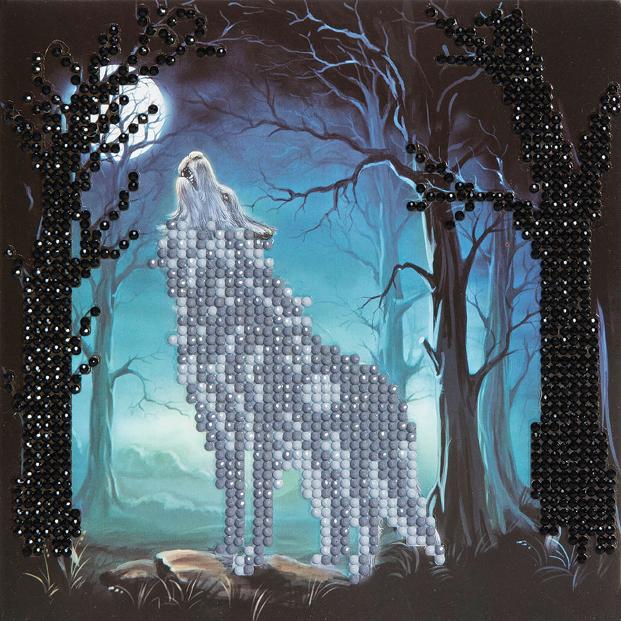Crystal Art Card Kit Howling Wolf distributed by Outset Media