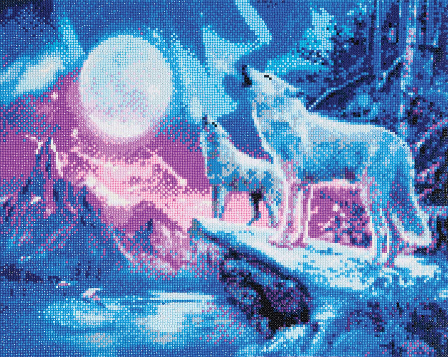 Crystal Art Large Framed Kit Wolves and Northern Lights distributed by Outset Media