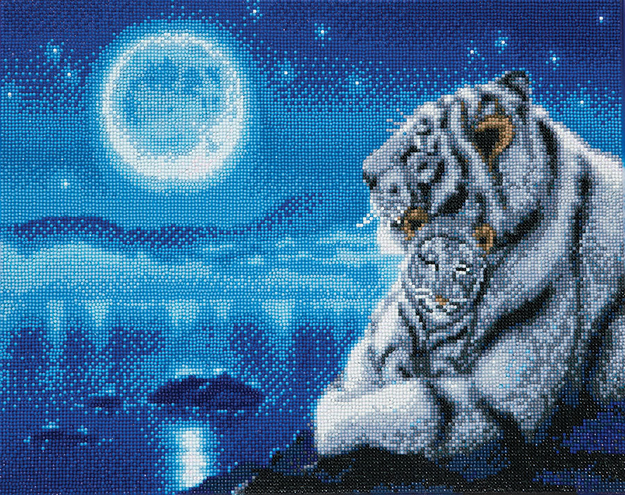 Crystal Art Large Framed Kit Lullaby White Tiger distributed by Outset Media