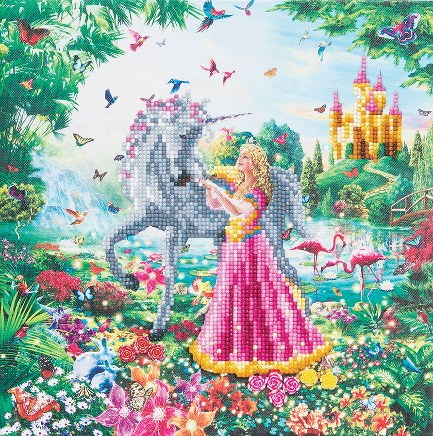 Crystal Art Medium Framed Kit The Princess and The Unicorn distributed by Outset Media