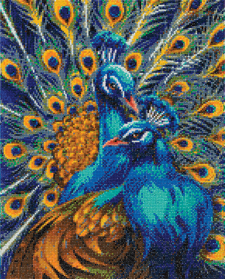 Crystal Art Large Framed Kit Blue Rapsody Peacocks distributed by Outset Media