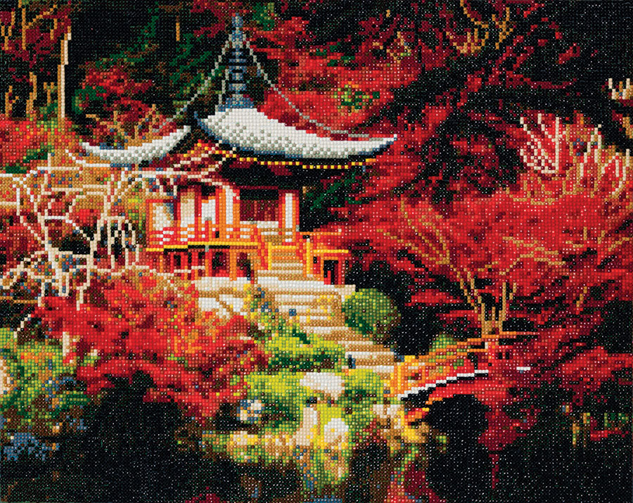 Crystal Art Large Framed Kit Japanese Temple  distributed by Outset Media